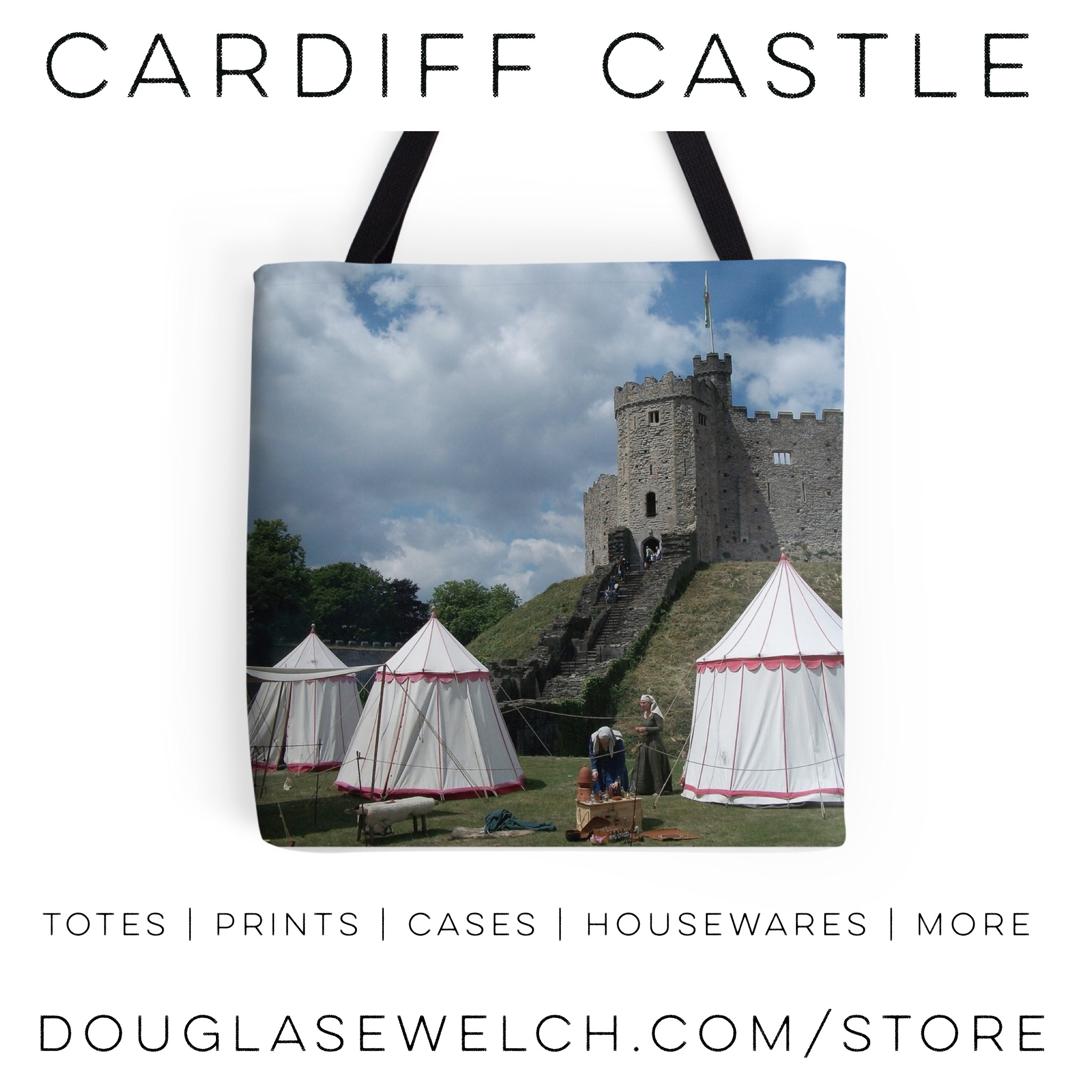 Bring Cardiff Castle home with this photo on totes and a variety of other products.