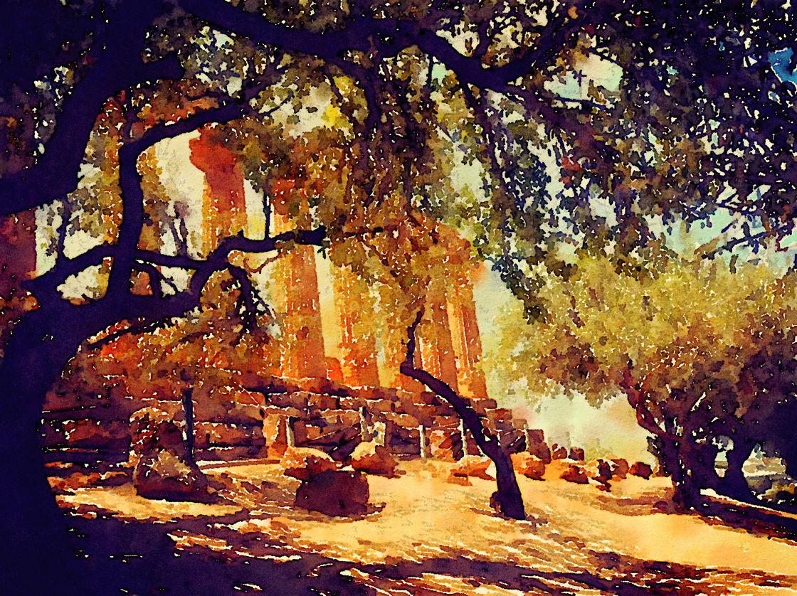Valli dei Templi, Agrigento, Sicily, ItalyWatercolor via @waterlogue