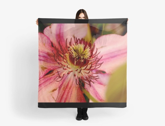 Pink Clematis Scarves, Clothing and Much More! [Products]