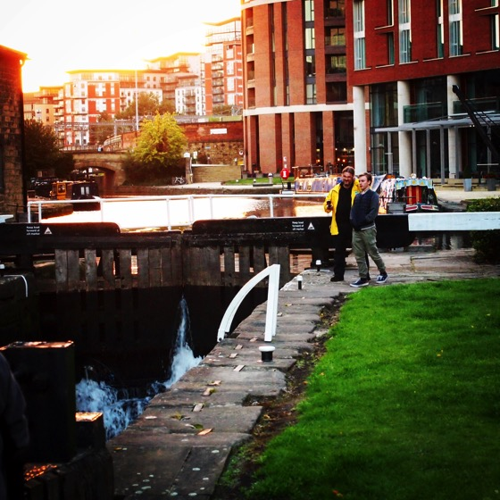 Douglas and Joseph at a lock along the Leeds- Liverpool Canal [Photo]