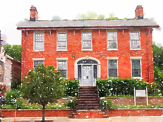 Historic Home, Bedford, Ohio (Watercolor)