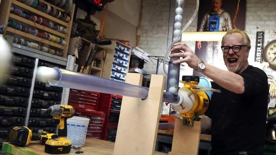 On YouTube: Adam Savage's One Day Builds: Ping Pong Machine Gun!