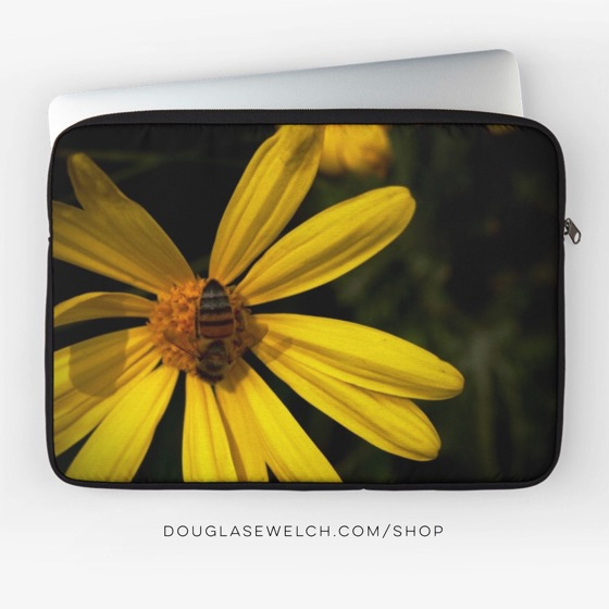 """Be the first to get this exclusive """"Bee on Yellow Flower"""" laptop sleeve and much more!"""