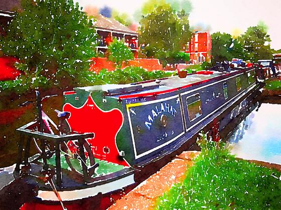 "Narrowboat ""Malahat"" on the Nottingham Canal, Nottingham, UK [Watercolor]"