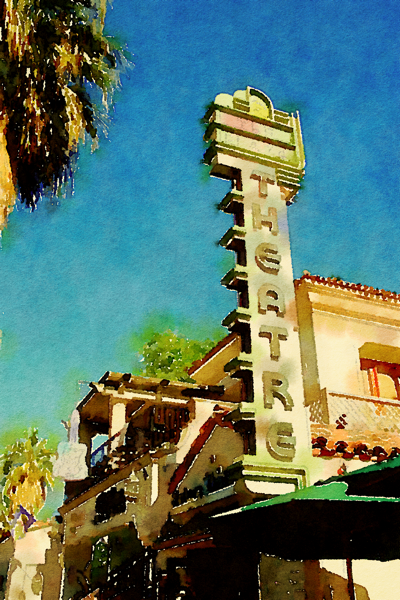 Plaza Theatre, Palm Springs, California (Watercolor)