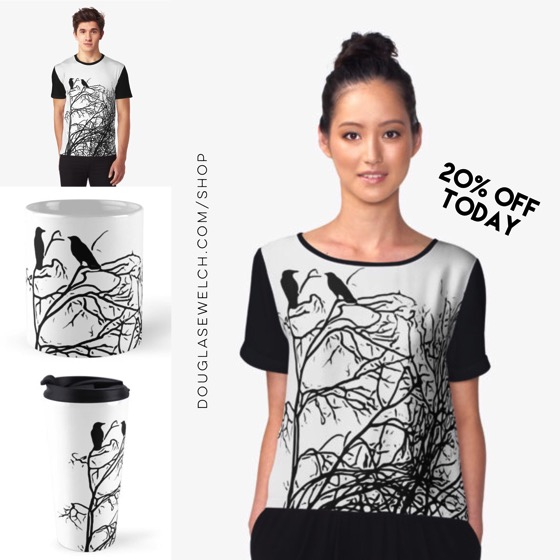 """Get 20% off everything today including these """"Winter Ravens"""" Tops, Mugs and More!"""
