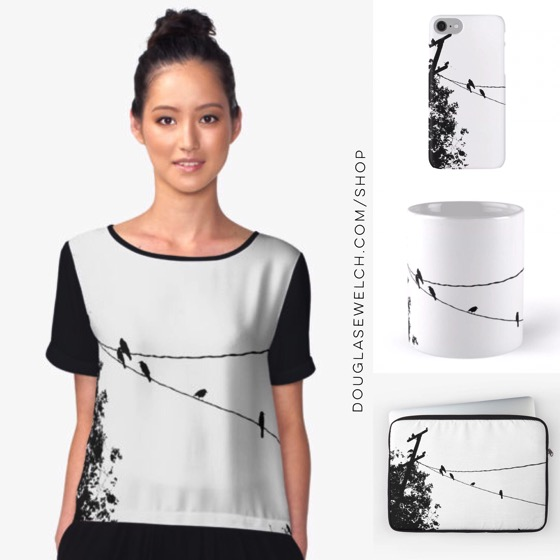 "Check out these ""Crows on a wire"" tops, cases, sleeves and much more!"