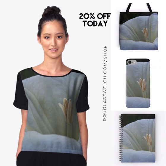 """Get 20% Off On Everything Today including these """"Datura Flower"""" Tops, Totes, Cases and More!"""