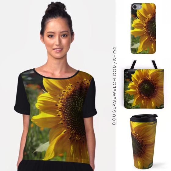 """Start your Spring early with these """"Spring Sunflower"""" Tops, Totes and Travel Mugs!"""
