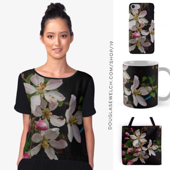 "Spring into ""Apple Blossom Time"" with these Tops, Totes, iPhone cases and much more!"