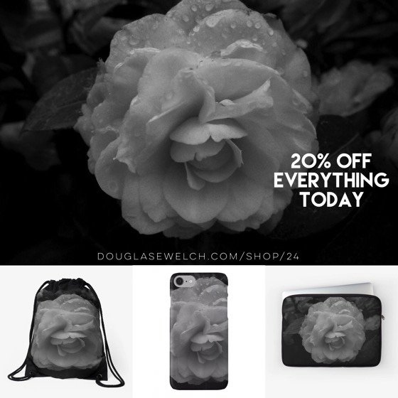 """Get these """"Camellia in Black & White"""" iPhone cases, laptop sleeves, bags and much more! – 20% OFF Everything Today"""