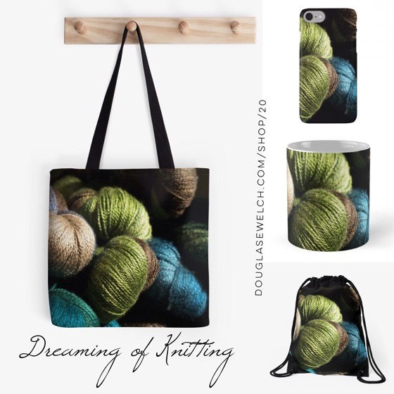 """Are you """"Dreaming of Knitting""""? Share your love with these Totes, Mugs, iPhone Cases and More!"""