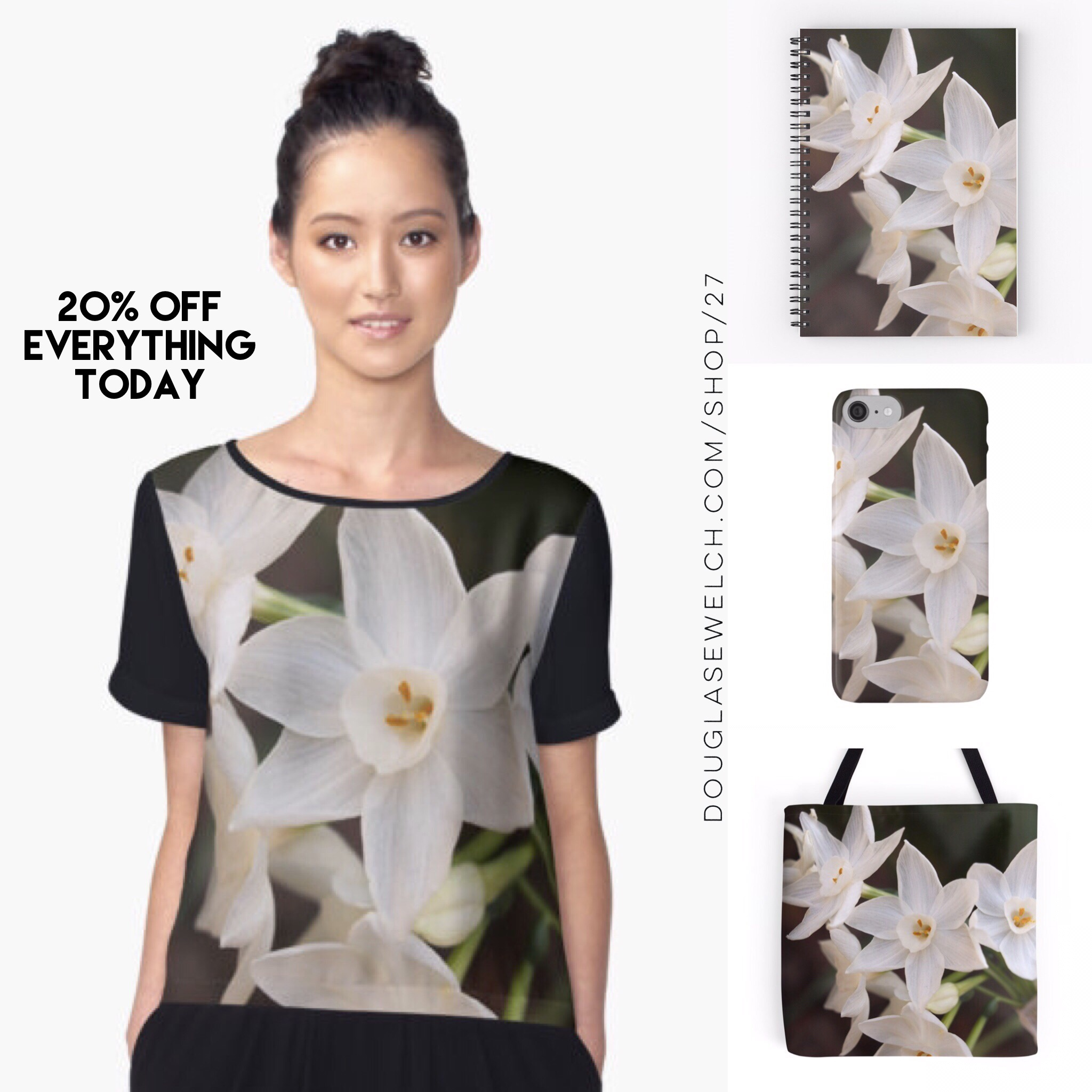 Spring has Sprung! Celebrate with these Paperwhites on Tops, Totes, iPhone cases and Much More!