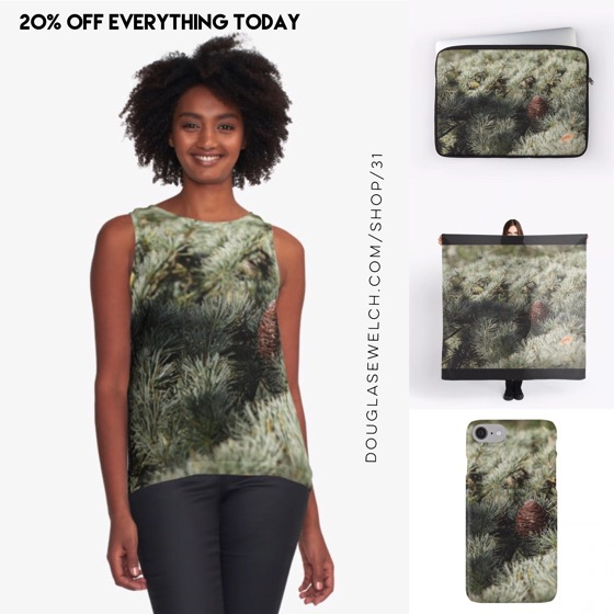 Step in and smell the woods with these tops, scarves, sleeves and cases – 20% Off Everything Today