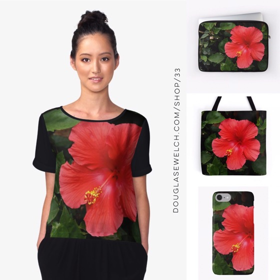 """Get ready for a tropical summer with these """"Pink Hibiscus"""" Tops, Bags, Cases and more!"""
