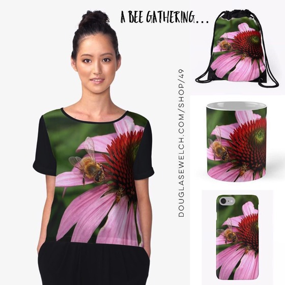 A bee gathering on purple coneflower – Totes, Mugs, Smartphone Cases, Tops and Much More!