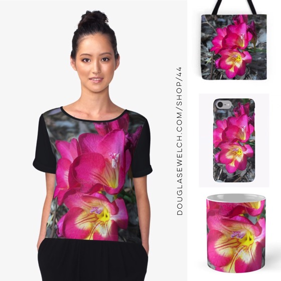 Fabulously Flashy Freesia on Tops, Totes, Smartphone Cases and Much More!