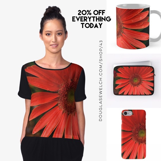 20% Off Today – Looking the sunny side with these Gerbera Daisy Tops, Mugs, Smartphone Cases and Much More!