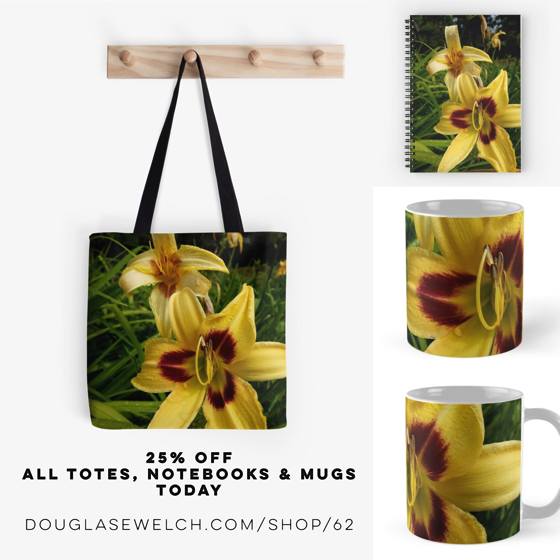 25% Off All Totes, Notebooks and Mugs Today – Yellow Daylily from the Gardens at Lake Merritt