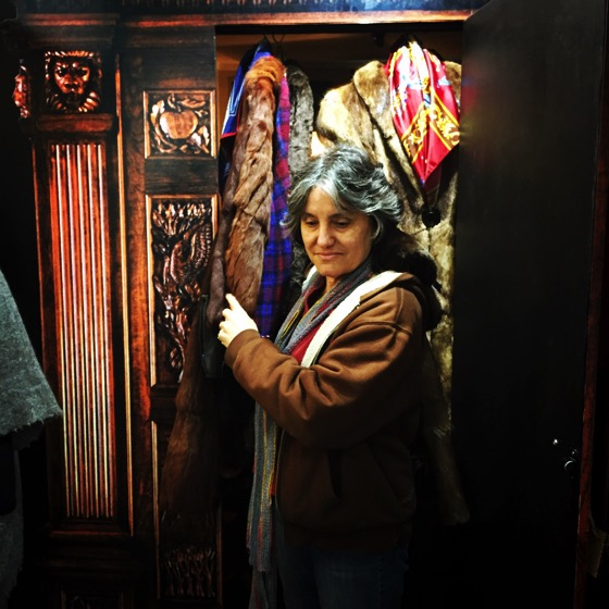Rosanne emerges from the Wardrobe to continue the tour at Stanborough Mill