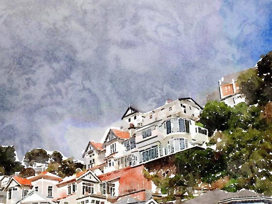 Stormy skies and Victorian architecture overlooking Oriental Parade. Wellington, New Zealand in Watercolor