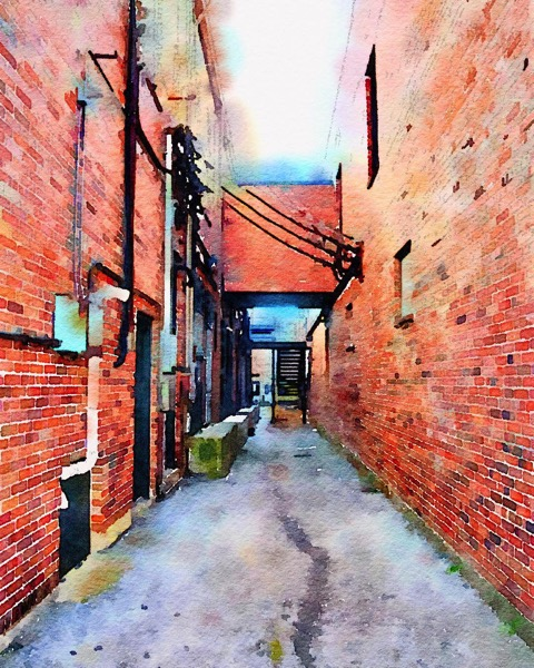 Down the alley in Watercolor