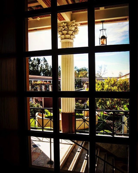 A window onto the garden, Getty Villa, Malibu, California via Instagram