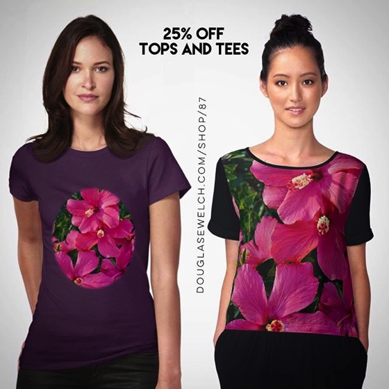 25% OFF Top and Tees Today! – Get these Pink Hibiscus Tops, Tees, Cases, Totes and More!