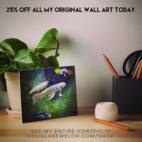 25% OFF All My Original Wall Art Today! – Get this Koi Pond Print and Much More!