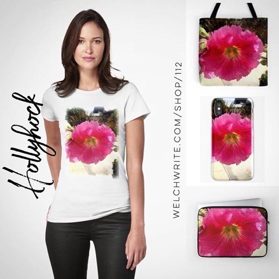 Pink Hollyhock Totes, Tees, iPhone Cases, and more! – Pleas share with your family and friends!