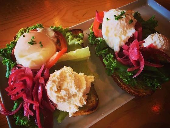 A kicked up avocado toast from brunch at Farm Table via Instagram