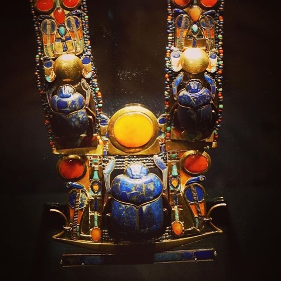 Scarab Necklace – King Tut: Treasures of the Golden Pharaoh via Instagram