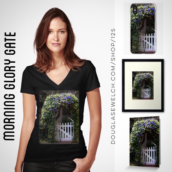 Join Me In The Cottage Garden with these Morning Glory Gate Tees, iPhone Cases, Cards and Much More