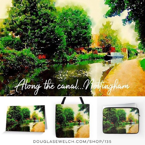 """Join Me On My Travels With These Watercolor """"Along the Canal…Nottingham"""" Cards, Postcards and Much More!"""
