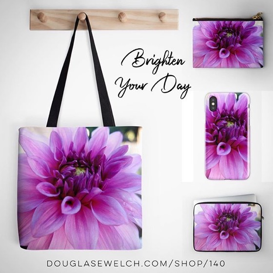 Brighten Your Day with these Pink Dahlia Totes, iPhone Cases, Laptop Sleeves and Much More!