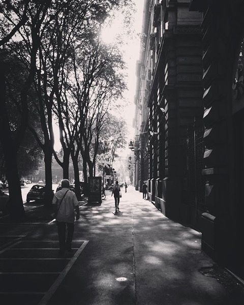 A Milano Street Scene in Black and White via Instagram
