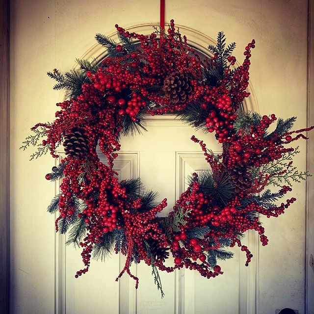 Our Christmas Door with Wreath via Instagram