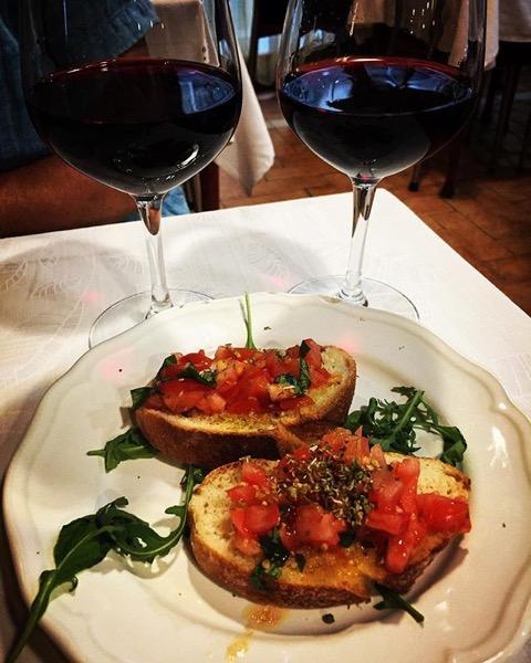 Bruschetta and Wine to start the meal via Instagram