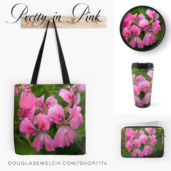 Dream Of Your Summer Garden with these Pink Geranium Totes, Mugs, Laptop Bogs and Much more!