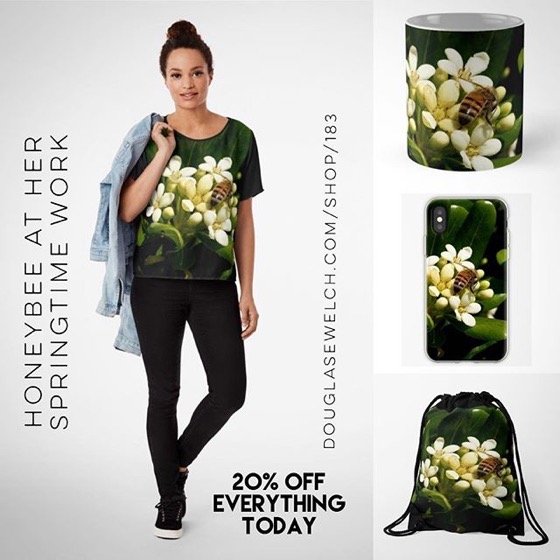 20% Off Everything Today – A Honeybee At Her Springtime Work Tops, Mugs, iPhone Cases And More! [For Sale]