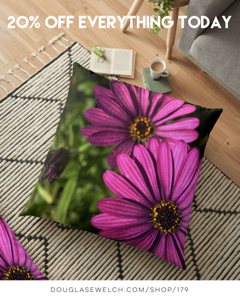 20% Off Everything Today! Get These Purple Explosion Flowers On Pillows, iPhone Cases, Totes and more!
