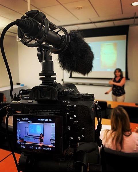 Doing my husbandly duty recording@drrosannewelch Presenting her Talk – The Sisterhood of Science Fiction via Instagram