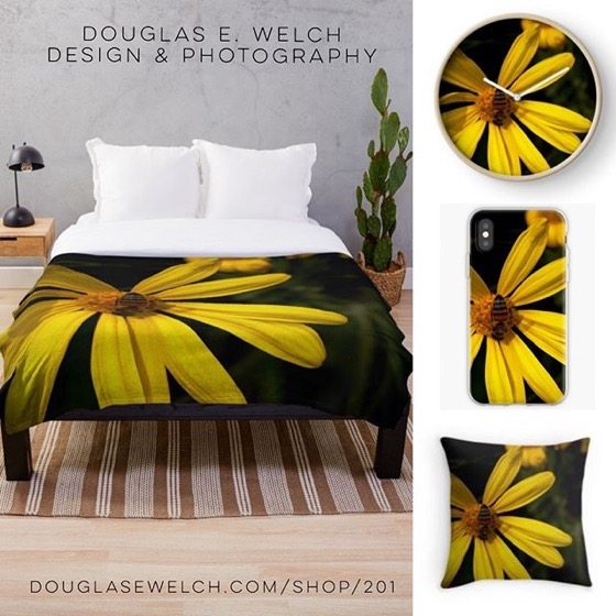 Busy Bee On Yellow Flower by Douglas E. Welch [For Sale]
