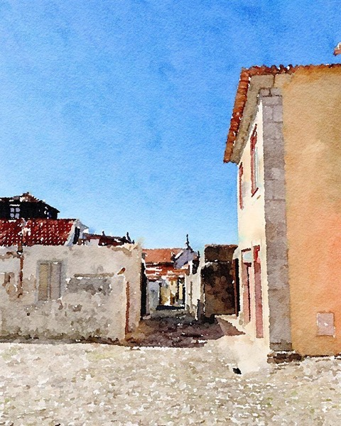 Street Scene, Foz, Porto, Portugal (watercolor) via Instagram