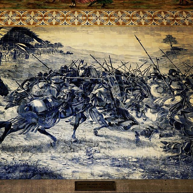 Detail Of Tile Murals at Porto, Portugal Train Station via Instagram
