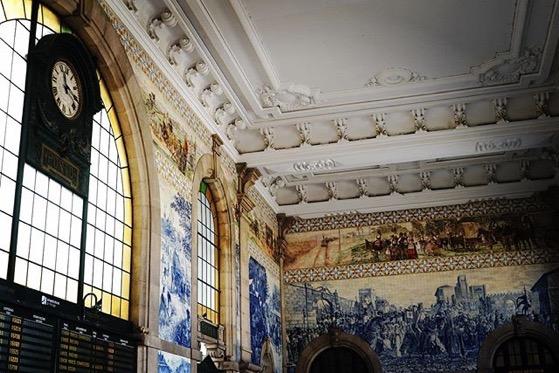 Station Clock and Tile Murals at Porto, Portugal Train Station via Instagram