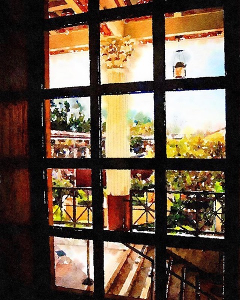 A window onto the garden in watercolor, Getty Villa, Malibu, California via Instagram