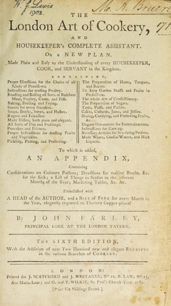 Historical Cooking Books – 44 in a series – The London art of cookery and housekeeper's complete assistant byJohn Farley (1789)