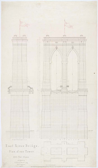 Plans for the Brooklyn Bridge Towers via Today's Document from the National Archives