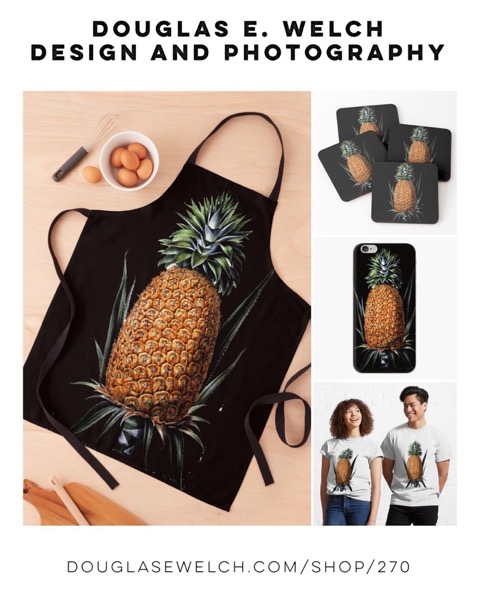 Enjoy This Vintage Pineapple Botanical Print on These Aprons, Tees, Mugs, and more! [For Sale]